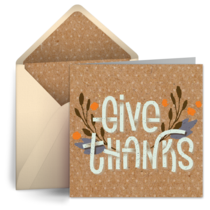 Rustic Give Thanks card image