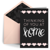 Thinking of You at Home Pink Hearts  card image