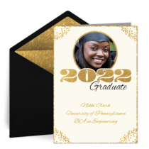 Gold Grad Photo card image