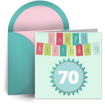 70th Birthday Banner card image