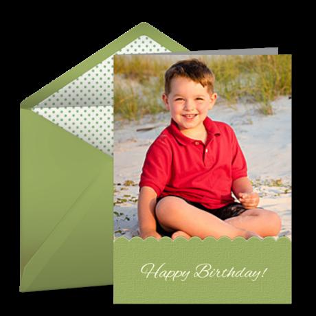 Kids Birthday Photo Green Kids Happy Birthday Ecard Greeting Card