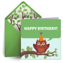 Birthday Owl card image