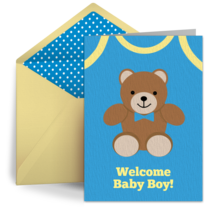 Baby Boy Bear card image