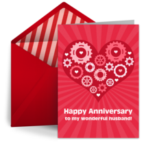 Anniversary ecards for husband and wife greeting cards punchbowl heart of a gear head m4hsunfo