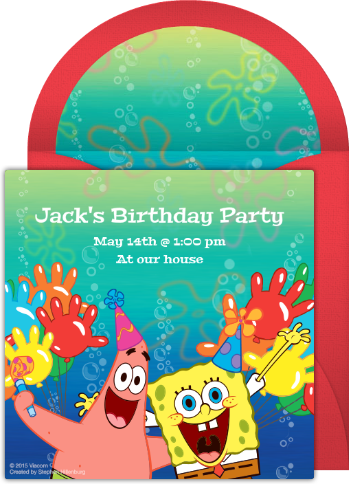 Digital SpongeBob Invitations Customize Online