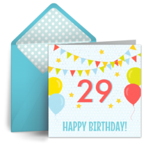 Leap Day Birthday Balloons card image