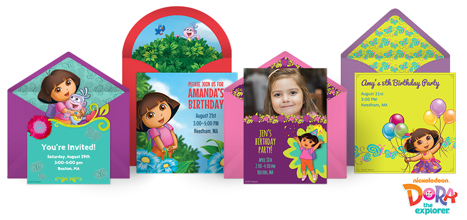 Dora Online Invitations